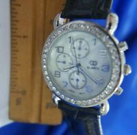 GG WHITE RHINESTONES LADIES BLACK BAND SILVER TONE watch WORKS NEW BATTERY A20