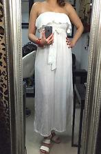 NEW White STRAPLESS Stretch Maxi full long DRESS Layered Ruffle Top Sz Medium M