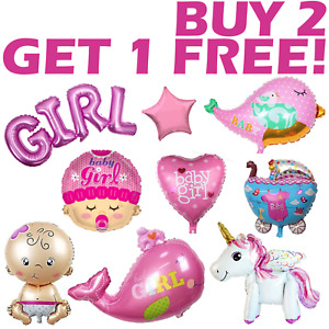 Baby Girl Balloons LARGE  Pink Shower Party Newborn Decorations Christening UK