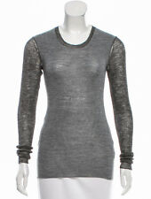 100% authentic CELINE wool alpaca blend knit top grey long sleeve crew neck XS