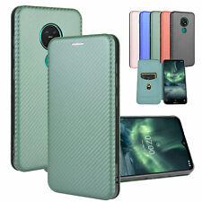 For Nokia 1.3 2.3 5.3 6.2 Carbon Fiber Magnetic Wallet Flip Card Slot Case Cover
