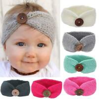 Cute Kids Girl Knitting Wool Hairwear Infant Headband Button Phtography Hairband