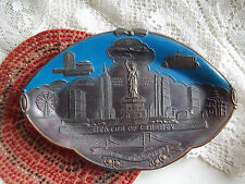 "Vintage New York Metal Dish 7"" Plate Japan Made Souvenir Liberty Empire pre 1960"