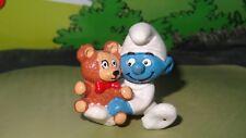 Smurfs Baby with Stuffed Teddy Bear Smurf 20205 Rare Vintage Display Figurine
