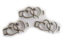 3x Verbinder 2 Herzen Farbe silber 3,25cm, Armbänder mit Lederband selbst machen