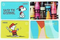 Walmart Gift Card Snoopy, Peanuts, Charlie Brown / Crayons - LOT of 4 - No Value