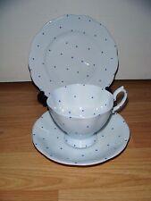 ROYAL ALBERT PIERETTE TRIO ~ Cup Saucer & Plate ~ Blue Polka Dots ~ 1920s ~ RARE