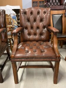 Stunning Antique Brown Leather Chesterfield Gainsborough/ Desk Chair