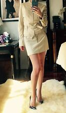 $3K PLEIN SUD Beige Leather Jitrois Suit Set Jacket Skirt FR 34 XS 0-2