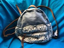 Claire's Blue Worn Look Denim Crochet Faux Leather Accents Mini Backpack New!