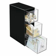 mDesign Plastic Office Desk Storage Organizer, Flips, 3 Drawers - Black/Clear