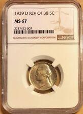 USA - Jefferson Nickel - 5¢ - 1939 Reverse of 1938 - NGC MS 67 - POP-TOP - WOW!