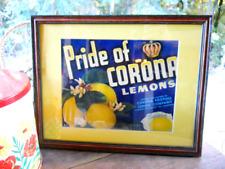 Vintage 1960s Fruit Crate Rare Pride of Corona Sunkist Lemon Print