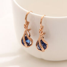 Womens Gold Plated Cubic Zirconia Blue Party Earrings Drop Jewellery Gift Bag