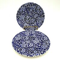 Queen's CALICO BLUE Bread Butter Dessert Plate Malaysia Floral Chintz SET OF 2