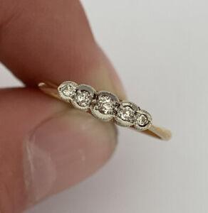 18ct Gold & Platinum Diamond Period Art Deco 5 Stone Ring, 18k 750 Plat