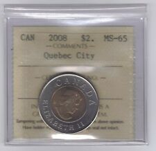 "**2008** Canadian ""Toonie"" Two Dollar *Quebec City* - ICCS MS-65 *NO SALES TAX*"
