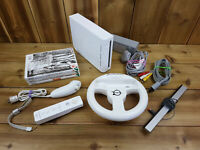 Nintendo Wii Console Bundle 3x Games Wheel Remote Nunchuk Resident Evil Fifa WC