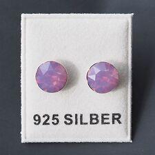 NUOVO Argento 925 Orecchini a bottone 8mm swarovski pietre CYCLAMEN OPAL/Viola-Rosa Orecchini