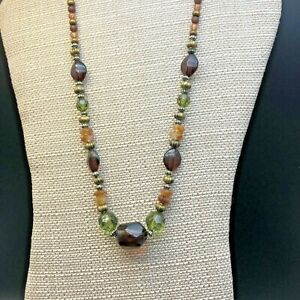 Chico's Dark Bead Necklace Green Brown Yellow Gold Tone Spacers Dark Gold Chain