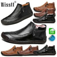 Men's Leather Casual Shoes Hand Stitching Fur Lined Antiskid Driving Ankle Boots