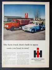 1957 International Pickup & Stake Truck Ad BUILT TO MOVE, COSTS YOU LESS TO OWN