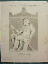 1804 datato antico stampa ~ basso releivo TOMB STONE xanthippus