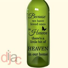 VINYL DECAL HEAVEN IN OUR HOME for WINE BOTTLE, CANDLE, LANTERN 17.5 X 8 cm