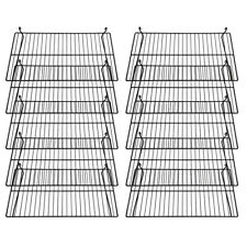 Case of 8 New Retails Black Flat Wire Gridwall Shelves 24w x 15d