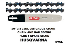 "GENUINE OREGON 20"" CHAINSAW BAR & CHAIN COMBO HUSQVARNA 3/8 72DL .058 2 X CHAINS"