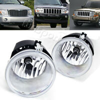 for 05-10 Jeep Grand Cherokee/06-10 Commander Clear Bumper Fog Light Lamps+Bulbs
