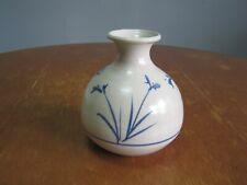 Vintage Japanese Bulb Shaped Ceramic Vase With Blue Flowers