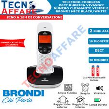 Telefono Fisso Cordless Vivavoce Dect Display Brondi Nice Bianco Nero