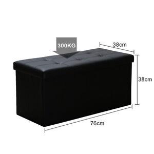 Sitzhocker Weiß/Schwarz mit Stauraum Sitzbank Faltbarer Aufbewahrungsbox