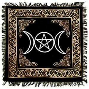 """Silver and Gold 18""""x18"""" Triple Moon and Pentacle Altar Cloth!"""