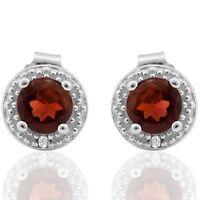 Ohrringe/Ohrstecker Joanne, 925er Silber, 0,662 Kt. echter Granat/Diamant