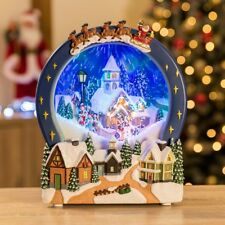 Christow LED Snowing Christmas Village Scene Musical Snow Globe Ornament