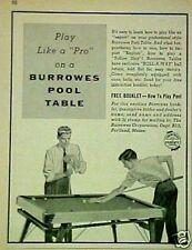 1956 Play like a Pro Burrowes Billiard~Pool Tables Roll-A-Way Print AD