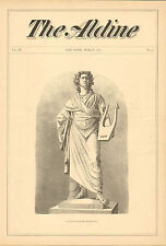 Munich, Germany, Goethe Statue, Vintage, 1871 Original, Antique Art Print.