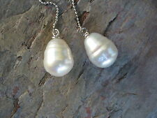 Sterling Silver & Genuine Paspaley South Sea Pearl Threader Ball Chain Earrings