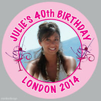 35 x Personalised Birthday Party Night Photo Stickers 37mm 18th, 21st, 40th -033