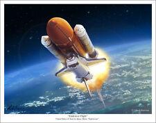 """Space Shuttle """"Endeavour Flight"""" Art Print - 11"""" x 14"""""""