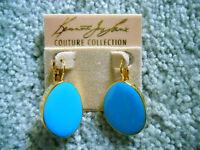Kenneth Jay Lane Gold Turquoise Enamel Eurowire Pierced Earrings