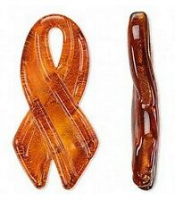 Orange Ribbon Necklace Awareness Handmade Lampwork Glass Pendant Jewelry
