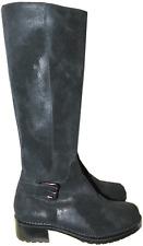 Donald Pliner Boot Buckle Strap Vintage Black Leather Riding Flat Shoe 36/ 6 New