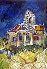 Van Gogh Church at Auvers Repro, Quality Hand Painted Oil  Painting 24x36in