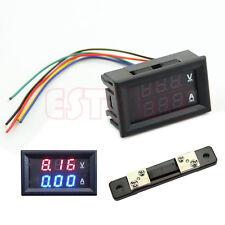 100V 50A DC Dual LED Digital Voltmeter Ammeter Amp Volt Meter + Current Shunt