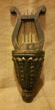 Vintage Green Gold Distressed Harp Wall Pocket Vase Decor Great Patina