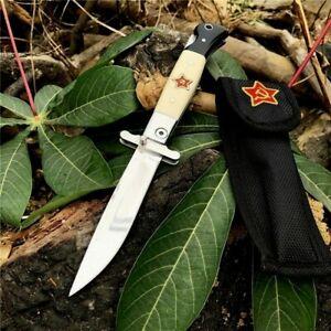 Folding Knife Pocket Hunting Survival Combat High Carbon Steel Resin Handle EDC