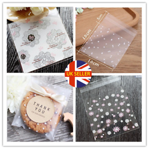 100Pcs Self Adhesive Plastic Cookie Bag Candy Gift Packaging Birthday Bags Valen